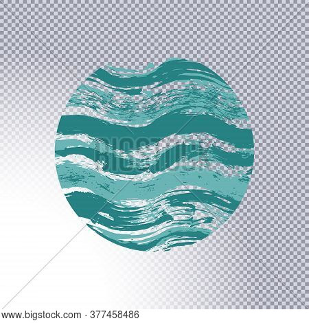 Circle Geometric Shape With Watercolor Wavy Horizontal Strips On Transparent. Grungy Ink Doodles Sim