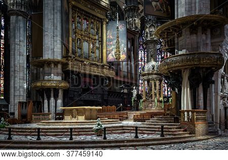 Milan, Italy - May 16, 2017: Interior Of Old Milan Cathedral Or Duomo Di Milano. It Is Famous Cathol