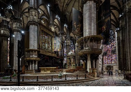 Milan, Italy - May 16, 2017: Inside Milan Cathedral Or Duomo Di Milano. It Is Famous Catholic Church