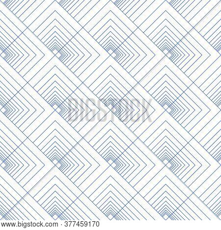 Abstract Seamless Pattern Of Lines And Squares. Diagonal Upward Movement. Geometric Pattern In Line