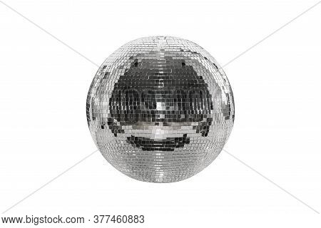 Disco Ball Isolated On A White Background. A Spherical Object With A Mirror Surface. Mirror Ball. Co