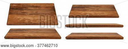 Wooden Chopping Board Isolated On White. Set Of Cutting Boards In Different Angles Shots In Collage