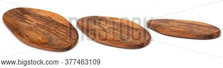 Wooden Chopping Board Isolated On White. Set Of Wood Cutting Boards In Different Angles Shots In Col
