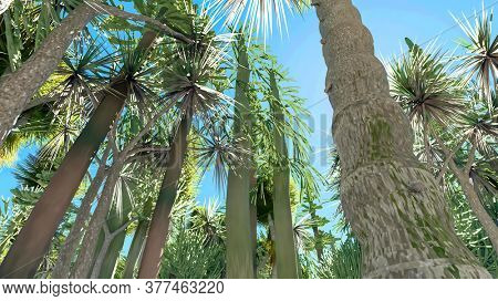 Mojave yucca plant in Joshua Tree National Park in California in the USA 3d rendering
