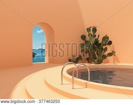Swimming pool in hall with window and cactus, conceptual art in bright colors, 3D illustration, rendering.