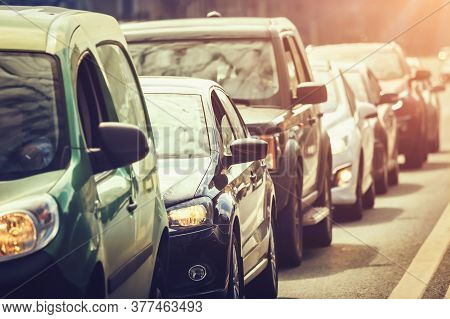 Cars Standing In A Line During Traffic Jam