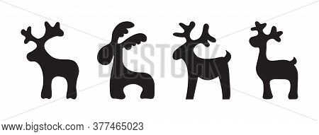 Christmas Reindeer, Animals Holiday Toys, Black Silhouettes Isolated On White Background. Vector Ill