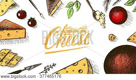 Cheese Poster Or Banner. Slices Of Edam And Mozzarella For Market Or Grocery Store. Cheeseboard And