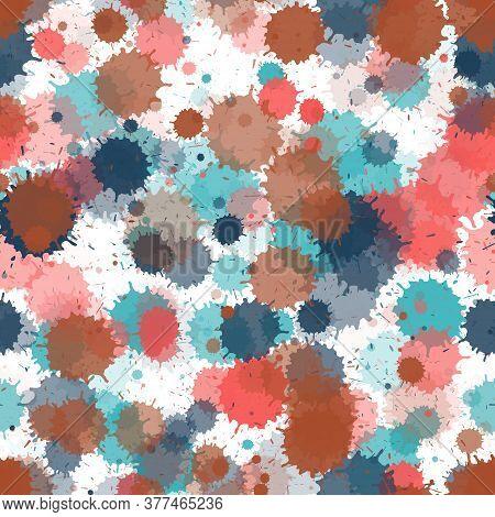 Paint Transparent Stains Vector Seamless Wallpaper Pattern. Retro Ink Splatter, Spray Blots, Mud Spo