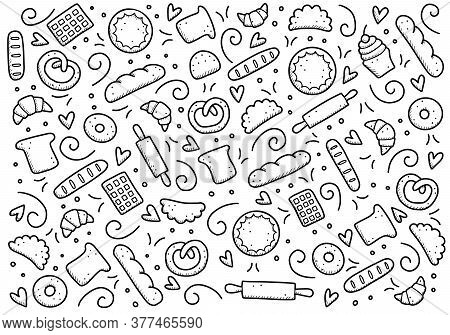 Hand Drawn Set Of Bakery And Baking Elements, Bread, Pastry, Croissant, Cake, Donut. Doodle Sketch S