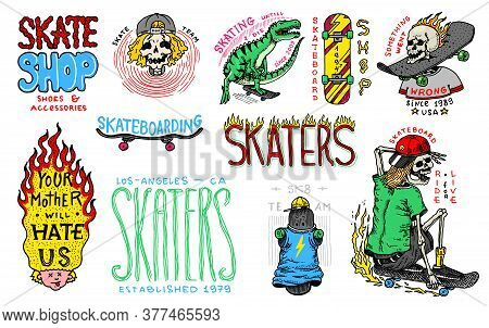 Skateboard Shop Badges And Logo Set. Vintage Retro Templates For T-shirts And Typography. Street Din