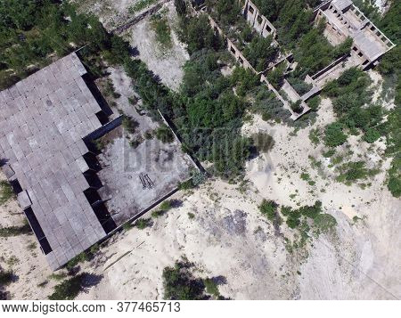 Drone quadrocopter explores an abandoned industrial building.Kiev