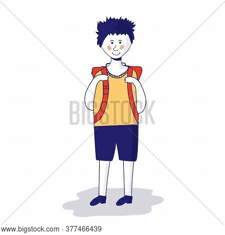Happy Schoolboy Holding A Book And Waving His Hand. Full Length Of Smiling Schoolboy Making Greeting