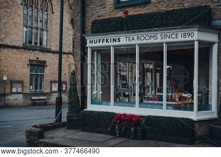 Stow-on-the-wold, Uk - July 6, 2020: Exterior Of Closed Huffins Tea Rooms And Coffee Shop In Stow-on