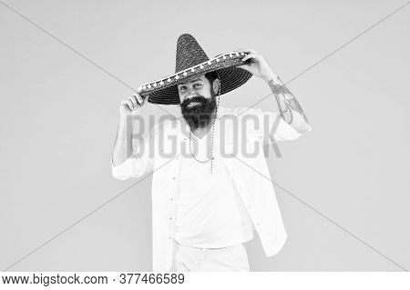 Travel To Mexico. Man In Mexican Sombrero Hat. Man In Festive Mood At Party Celebrating. Guy Happy F