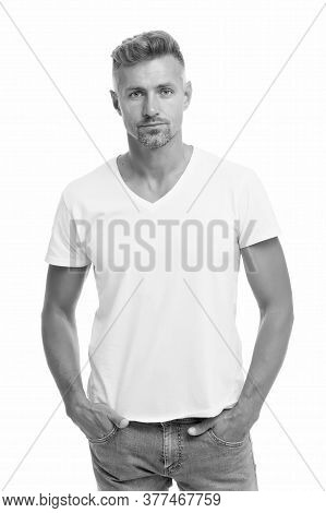 Shop Mens Casual Clothing. Handsome Man In Casual Style Isolated On White. Casual Fashion Trends. Ap
