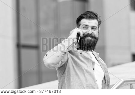 Thanks. How Are You Doing. Mobile Communication. Business Conversation. Man With Smartphone. Handsom