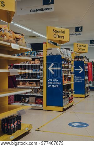 Stow On The Wold, Uk - July 06, 2020: One Way System And Social Distancing Signs In Tesco, The Third