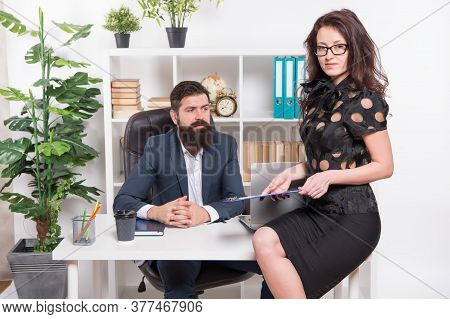 Office Secretary. Business Couple Working. Couple In Office. Successful Business. Man And Elegant Wo