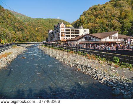 Sochi, Russia - October 13, 2018. Mzymta River Embankment In Rosa Dolina. Famous Rosa Khutor Alpine