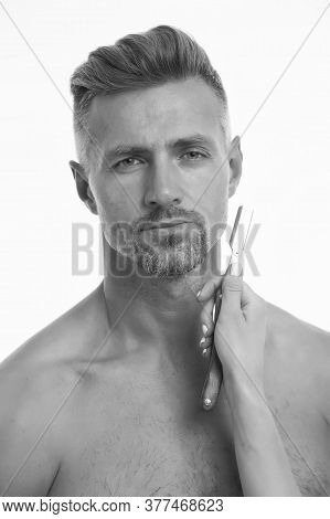 Vintage Style Shaving. Bearded Man And Female Hand Holding Razor. Retro Shaving Tool. Professional B