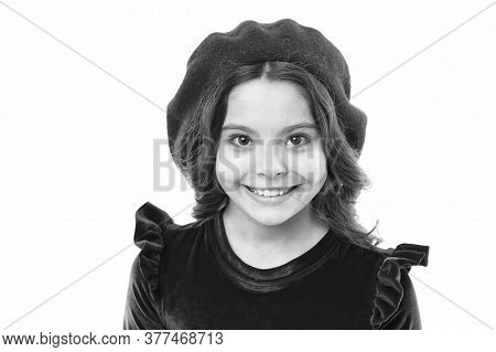 Happy Child In French Beret. Retro Kid Fashion. Pretty Little Girl Wear Red Barret. Childhood Happin