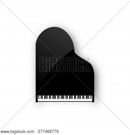 Grand Piano Instrument Silhouette Background Cartoon Icon Top View. Vector Piano Keyboard