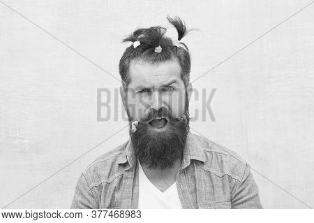 Positive Amazed Man. Funny Portrait Of Man With Funny Hairstyle. Barbershop And Hairdresser. Happy F