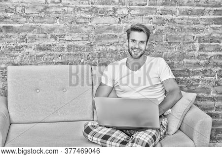 Freelance Working From Home. Distance Job While Quarantine. Handsome Man Communicate On Laptop. Use
