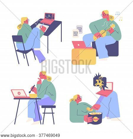 Woman Performs Daily Activities At Home. Uses A Laptop For Work And Entertainment.