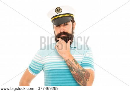 Man Born To Sail. Bearded Man Isolated On White. Sailor Man In Striped Blue. Naval Man In Peaked Cap