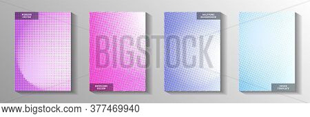 Simple Circle Screen Tone Gradation Front Page Templates Vector Kit. Geometric Magazine Faded Screen