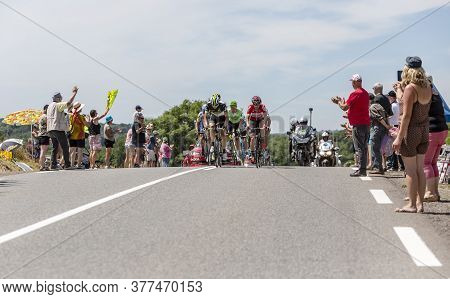 Mailleroncourt-saint-pancras, France - July 5, 2017: The Breakaway Approaching On A Road To La Planc