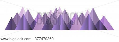 Low Poly Pink Mountains Range. Vector Polygonal Shapes Isolated Illustration