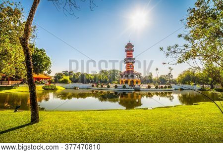 Tower Withun Thasana Or The Sage Lookout In Bang Pa-in Royal Palace Or The Summer Palace In Ayutthay