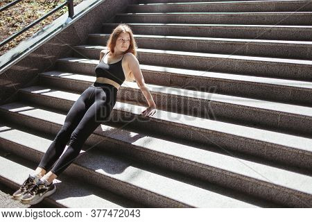 Urban Workout, Street Fitness. Yong Fit Woman Doing Push Ups On Stairs. Healthy Lifestyle, Power And