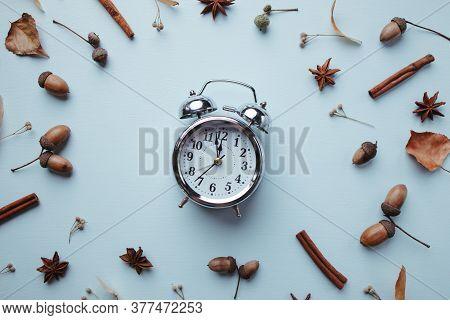 Hello Autumn, Season Change Time, Thanksgiving Day, Seasonal Holidays Concept. Fall Composition, Bac