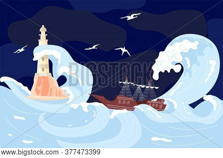 Lighthouse On A Rock Among Storm Waves, Sailboat Is Shipwrecked In Huge Wave On The Dark Blue Backgr