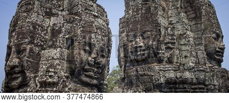 Bayon Buddhist Temple In Cambodia, Khmer Empire Siem Reap Southeast Asia