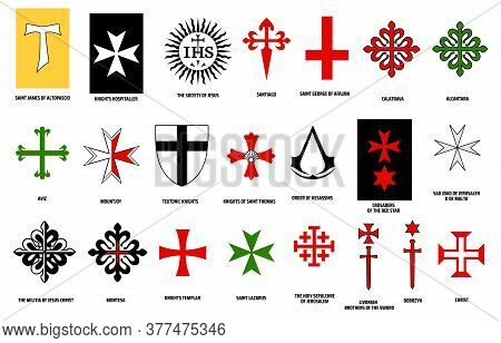 Orders Of Chivalry Vector Design Of Military And Religious Orders Of Knights. Medieval Knights Heral