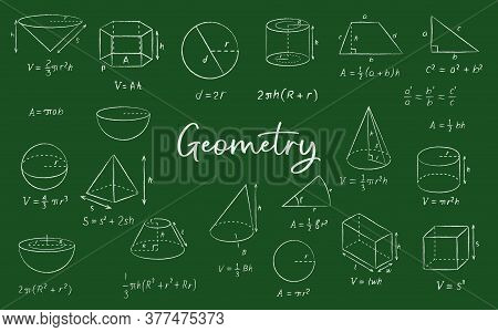 Geometric Shape Chalk Sketches On Blackboard, Vector Education And Back To School Background. Math F