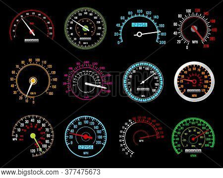 Speedometers, Speed Indicator Vector Dashboard Dial Scales For Auto. Isolated Car Speedometers With