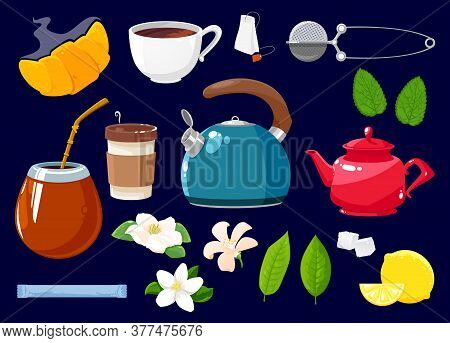 Tea Icons Isolated Vector Set Of Flowers, Croissant, Green Or Black Tea Plant And Mint Leaves. Cane