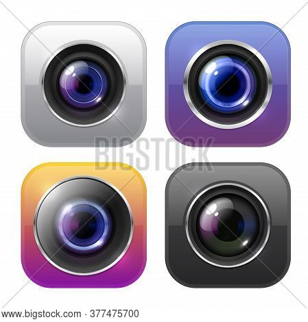 Photo And Video Camera Icons, Isolated Vector Digital Signs, Buttons With Lens Flare. Photographer E