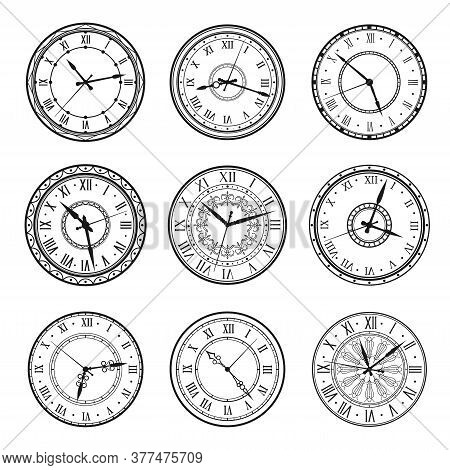 Vintage Clock Faces, Vector Retro Watch Dials Signs. Ornate Watchface With Clock Hands, Roman Numera