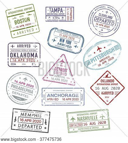 Stamps Of Usa, Passport Travel Visas Of Us Airport, Vector Icons, International Departure And Arriva