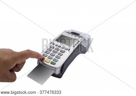 Close Up Of Male Holding In Hands Wireless Modern Bank Payment Terminal To Process Acquire Credit Ca