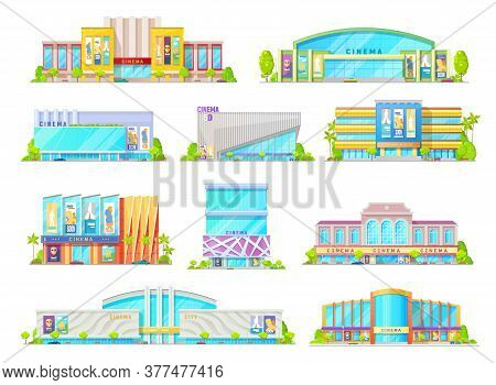 Cinema Or Movie Theater Building Vector Icons Of House Exterior Facades With Entrances, Marquees, Bi