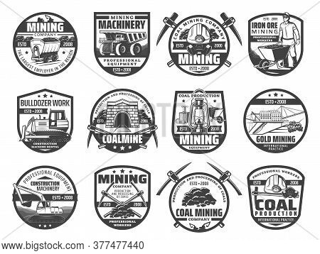 Mining Industry Equipment And Miner Isolated Vector Icons. Iron Coal And Gold Mining Dump Truck And