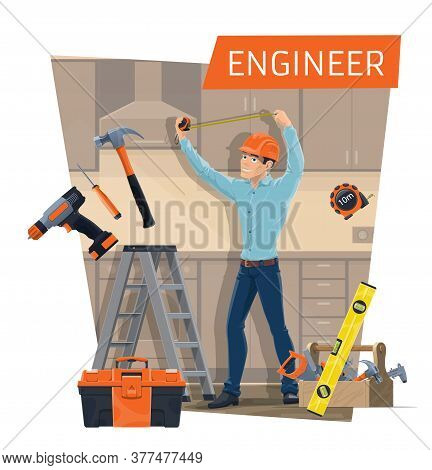 Engineer Profession Of Construction Industry Vector Design. Cartoon Character Of Foreman Or Contract